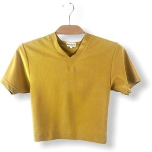 Paul Smith Yellow V Neck Cropped Stretch Knit Tee